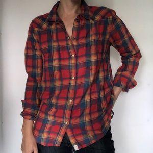 AEO Red Boyfriend Flannel